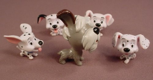 Disney 101 Dalmatians Set Of 5 Small Dogs With Large Heads, Similar To Snubbies