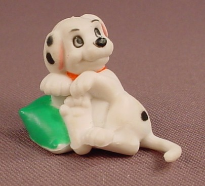 Disney 101 Dalmatians Puppy On A Green Pillow PVC Figure, 1 1/8 Inches Tall, Figurine
