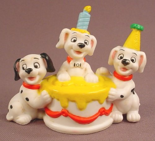 Disney 101 Dalmatians 3 Puppies With A Large Birthday Cake PVC Figure, 3 Inches Wide