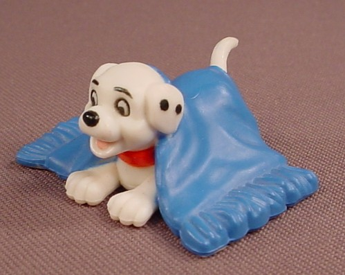 Disney 101 Dalmatians Puppy Dog Under A Blue Rug PVC Figure, 1 5/8 Inches Wide, Figurine