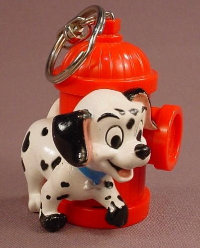 Disney 101 Dalmatians Puppy With A Fire Hydrant Key Chain Figure, 3 Inches Tall