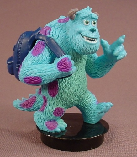 Disney Monsters Inc Sully With A Backpack PVC Figure On A Black Round Base, 3 1/8 Inches Tall