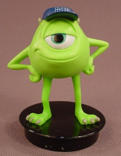 Disney Monsters Inc Mike Wazowski With A Blue Hat PVC Figure On A Black  Round Base, 2 3/4 Inches