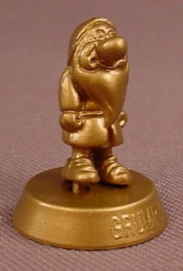 Disney Snow White Gold Mini Grumpy Dwarf Figure On A Base, 1 Inch Tall, 2005 7-Eleven Promotion