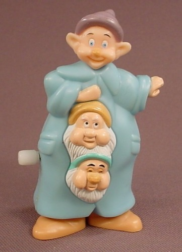 Disney Snow White Wind Up 3 Dwarfs Toy, Waddling Dwarves, 3 1/4 Inches Tall, 1994 Burger King Europe