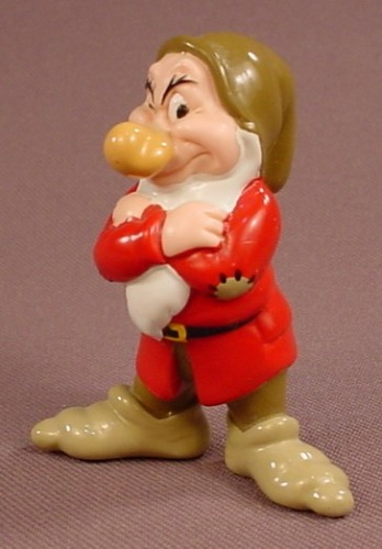Disney Snow White Grumpy With Arms Crossed On His Chest PVC Figure, 2 3/8 Inches Tall, Figurine