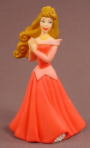 Disney Sleeping Beauty Princess Aurora With Dark Pink Gown PVC Figure, 3 3/4 Inches Tall