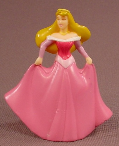 Disney Sleeping Beauty Princess Aurora Holding Her Pink Gown PVC Figure, 2 1/2 Inches Tall, Figurine