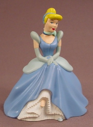 Disney Cinderella In A Blue & White Gown Figure Sitting On A Chair, Hollow Under The Gown