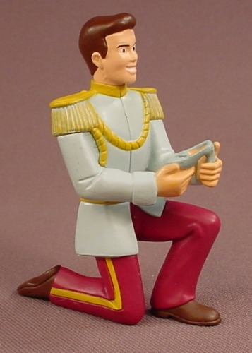 Disney Cinderella Prince Charming On One Knee With A Slipper PVC Figure, 3 Inches Tall, Decopac