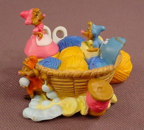 Disney Cinderella Sewing Basket With Jag Perla & Suzy PVC Figure, 2 1/2 Inches Wide, Figurine