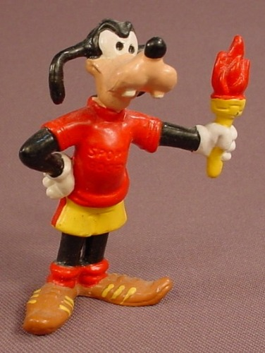 Disney Goofy In A Red Shirt & Holding An Olympic Torch PVC Figure, 2 3/4 Inches Tall, 1984