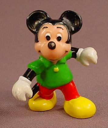 Disney Mickey Mouse In A Green Shirt & Red Pants PVC Figure, 2 Inches Tall, Walt Disney Productions