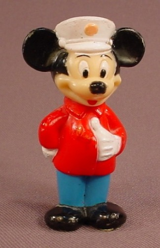Disney Mickey Mouse Wearing A White Hat Hard Plastic Figure, 2 1/2 Inches Tall, Figurine