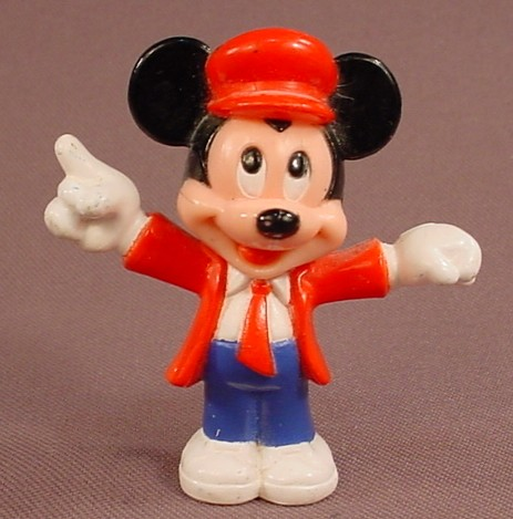 Disney Mickey Mouse In A Red Jacket & Tie PVC Figure, 2 1/4 Inches Tall, Figurine