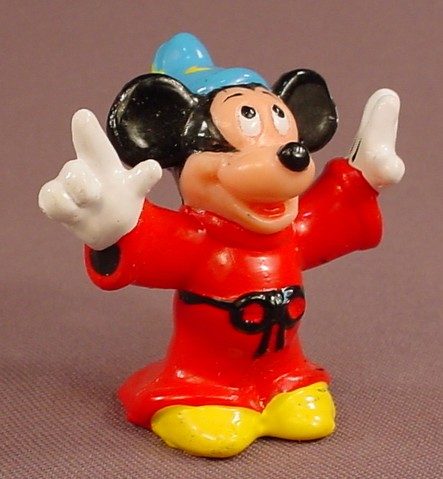 Disney Mickey Mouse Sorcerer Or Wizard With Arms Up PVC Figure, 2 Inches Tall, Figurine