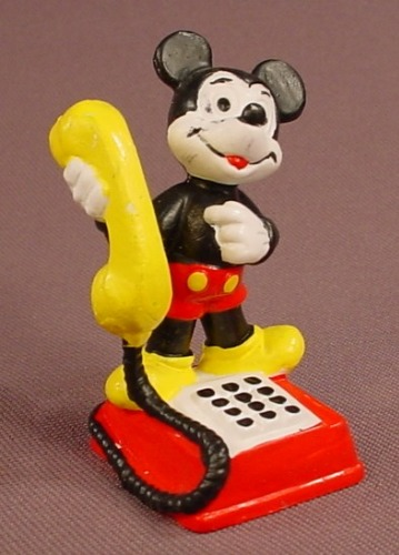 Disney Mickey Mouse Standing On A Telephone Base PVC Figure, 2 1/8 Inches Tall, Bully, Figurine