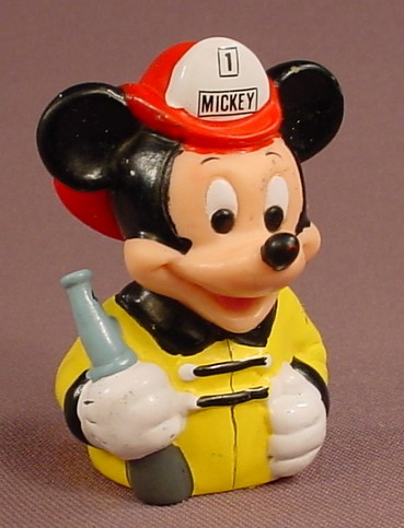 Disney Mickey Mouse Fireman With A Hose Nozzle Vinyl Finger Puppet Figure, 2 3/8 Inches, Applause