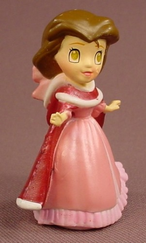 Disney Beauty & The Beast Belle In A Christmas Gown & Cape PVC Figure, 2 1/4 Inches Tall, Zizzle