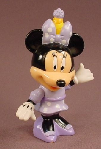 Disney Minnie Mouse With A Purple & Yellow Party Hat Plastic Figure, 4 Inches Tall