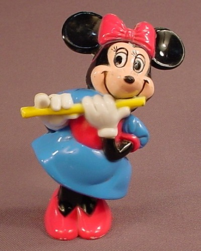 Disney Vintage Minnie Mouse Flute Player Plastic Figure, 4 Inches Tall, Swivels Or Bobbles