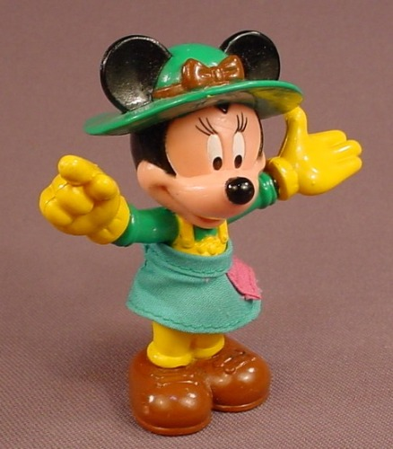 Disney Minnie Mouse With A Green Gardening Hat & A Cloth Shirt PVC Figure, Bends At The Waist