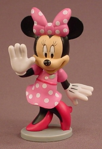 Disney Minnie Mouse In A Pink Polka Dot Dress PVC Figure On A Gray Base, 3 1/8 Inches Tall, Figurine