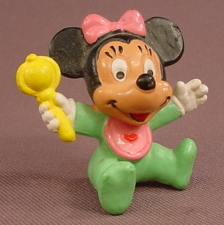Disney Baby Minnie Mouse With A Rattle PVC Figure, 1 3/4 Inches Tall, 1985 Walt Disney Prod, Bully