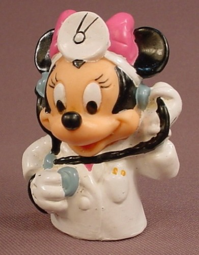 Disney Minnie Mouse As A Doctor Finger Puppet Figure, 2 3/8 Inches Tall, Applause