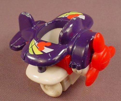 Disney Die Cast Metal & Plastic Purple Airplane For A Figure, Arco Mattel, Diecast