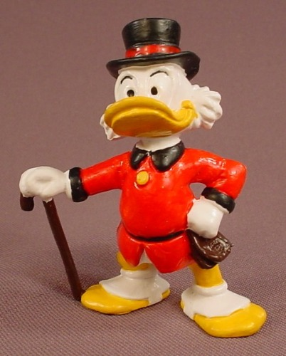 Disney Scrooge Chuck With A Red Coat & Cane PVC Figure, 2 3/4 Inches Tall, 1984 Bully, Hand Painted