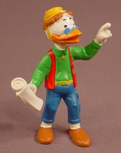 Disney Gyro Gearloose With Plans PVC Figure, 2 3/4 Inches Tall, 1984 Bully, Walt Disney Productions