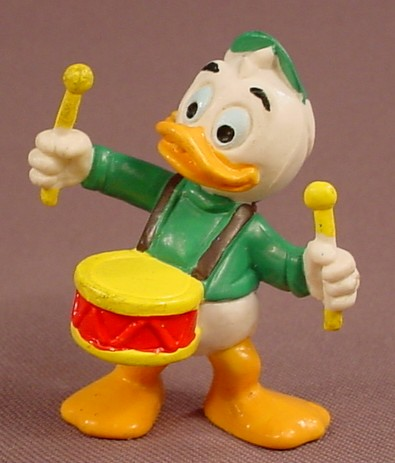 Disney Donald Duck's Nephew Louie Playing A Drum PVC Figure, 2 1/4 Inches Tall, Bully