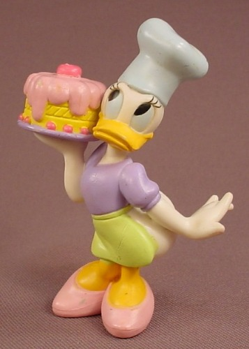 Disney Daisy Duck In A Baker's Hat & Holding A Cake PVC Figure, 3 1/2 Inches Tall, Figurine