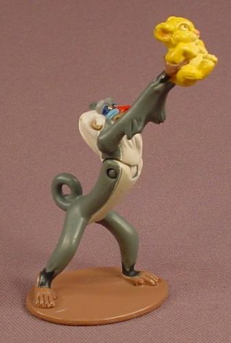 Disney The Lion King Rafiki Holding Simba At Arms Length PVC Figure On A Base, 2002 Hasbro