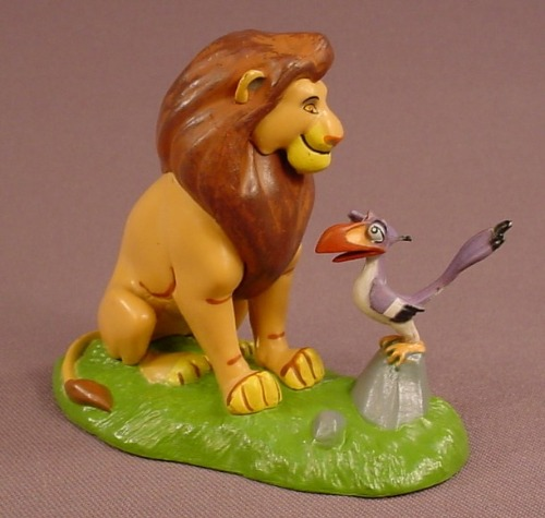 Disney The Lion King Ault Simba & Zazu Sitting On A Grass Base, 3 1/8 Inches Tall, Figurine