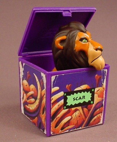 Disney The Lion King Scar Figure Finger Puppet Inside A Block Toy, 1995 Burger King