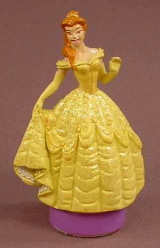 Disney Beauty & The Beast Belle PVC Figure Figural Rubber Stamp, Glittery Dress, 3 1/8 Inches Tall
