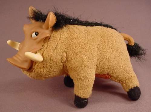 Disney The Lion King Plush Pumbaa The Warthog Toy, 7 Inches Long, Has A Vinyl Face, 1994 Mattel