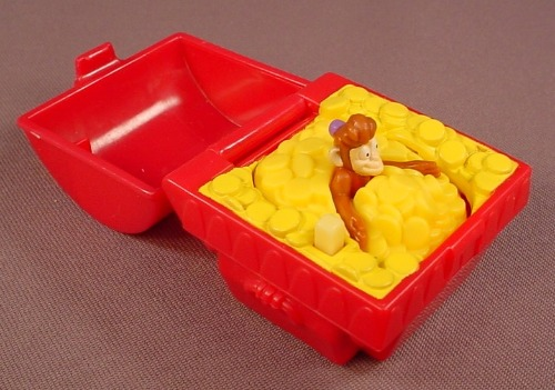 Disney Aladdin Abu The Monkey Hiding In A Treasure Chest Toy, 2 1/8 Inches Wide, 2004 McDonalds