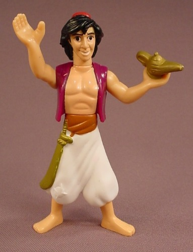 Disney Aladdin Holding A Lamp Figure, 4 1/8 Inches Tall, 1996 McDonalds, Disney Masterpiece