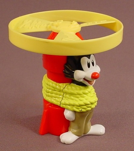 Animaniacs Yakko Rocket Launcher Toy, 1998 Wendy's Restaurant Toy, Pull Yakko To Launch The Spinner