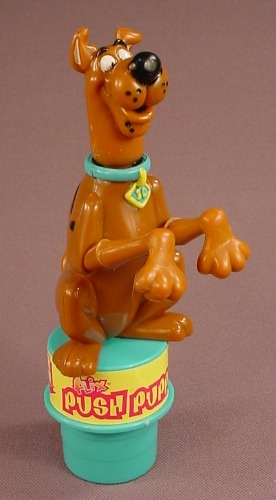 Scooby Doo Collapsible Push Puppet Figure Toy, 5 3/4 Inches Tall, 1999 Flix