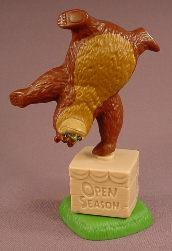 Open Season Movie Boog The Bear Figure Balancing On A Rotating Crate Base, 5 5/8 Inches Tall