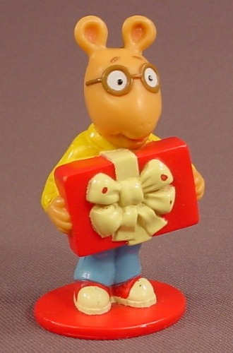 Arthur Holding A Present PVC Figure, 2 3/4 Inches Tall, 1997 Unique, PBS TV Show, Marc Brown