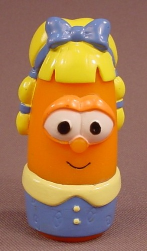 Veggie Tales Laura Carrot With A Blue Bow Figure, 2 3/4 Inches Tall, 2002 Bluebox