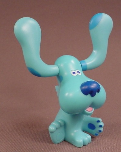 Blue's Clues Blue PVC Figure With A Button In The Back To Move The Ears, 3 1/2 Inches Tall