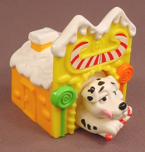 McDonalds 101 Dalmatians Dog In A Yellow Candy Shop Building, Push The Back To Make Him Pop Out