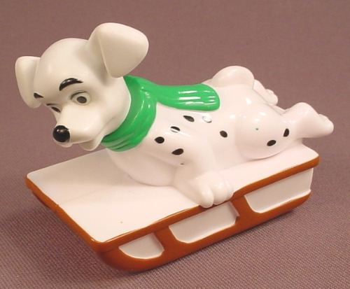 McDonalds 101 Dalmatians Dog On A Sleigh Or Sled, Has A Pull Back Motor, 102