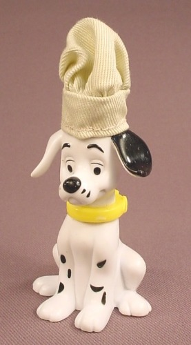 McDonalds 101 Dalmatians Dog In A Cloth Chef Hat, The Head Swivels, 102
